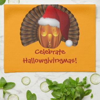Turkey Pumpkin with a Santa Hat Hallowgivingmas Tea Towel