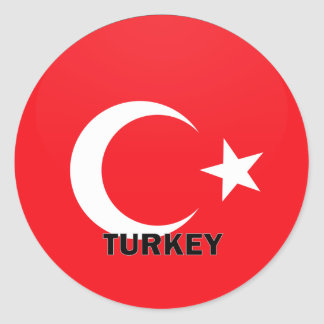 Turkey Roundel quality Flag Classic Round Sticker