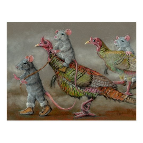 Turkey run rats wild Thanksgiving kmcoriginals Postcard