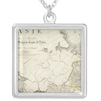 Turkey, Russia and Asia Engraved Map Silver Plated Necklace