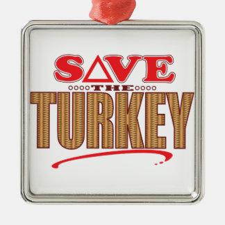 Turkey Save Silver-Colored Square Decoration