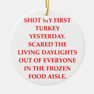turkey shoot christmas ornament
