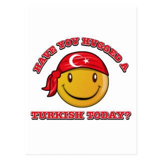 Turkey smiley flag designs postcard