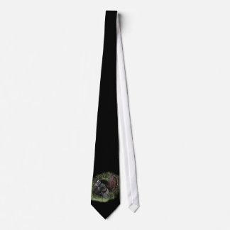 Turkey Strut on Black(larger image) Tie