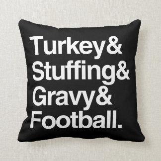 Turkey & Stuffing & Gravy & Football Thanksgiving Cushion