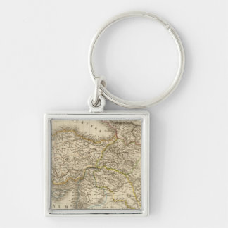 Turkey Syria map Silver-Colored Square Key Ring