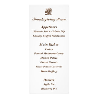 """Turkey"" Thanksgiving Menu Cards Customized Rack Card"