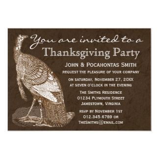 Turkey Thanksgiving Party Card