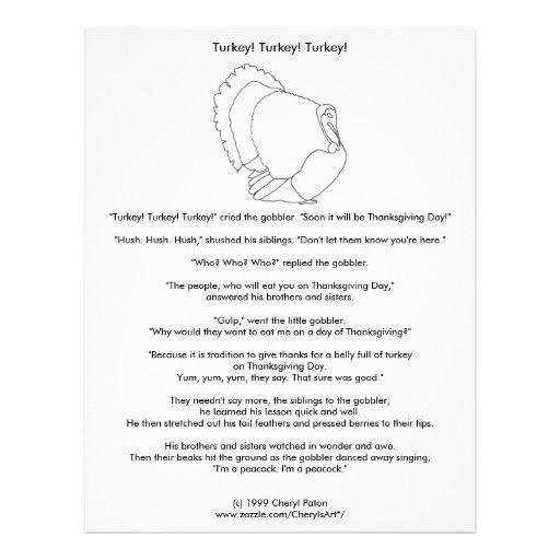 Turkey Thanksgiving Vegetarian Coloring Story Flyer Design