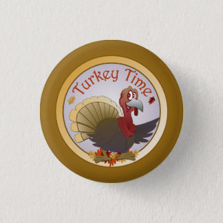 Turkey Time [Thanksgiving] 3 Cm Round Badge
