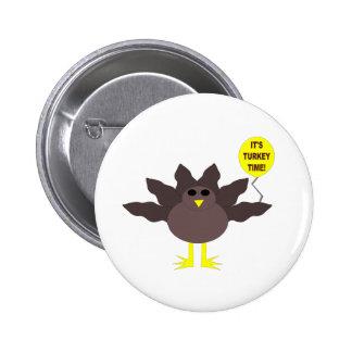 Turkey Time Thanksgiving Button