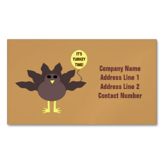 Turkey Time Thanksgiving Custom Business Cards Magnetic Business Cards