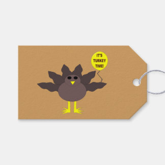 Turkey Time Thanksgiving Custom Gift Tags