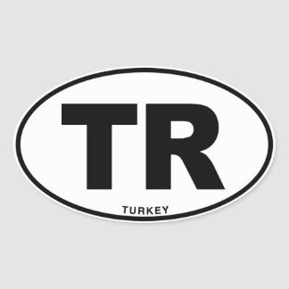 Turkey TR Oval ID Identification Code Initials Oval Sticker