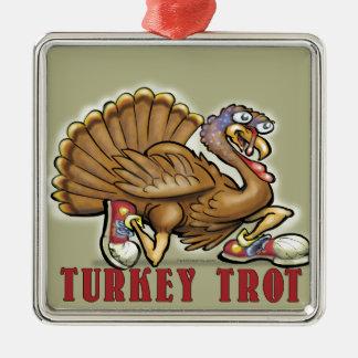 Turkey Trot Silver-Colored Square Decoration