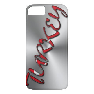 Turkey Turkish Flag Color Typography Silver Gray iPhone 8/7 Case