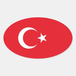 Turkey/Turkish Flag Oval Sticker