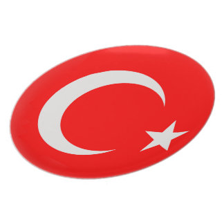 Turkey Turkish Red & White Flag Plate