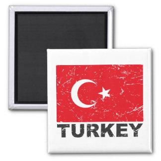 Turkey Vintage Flag Square Magnet