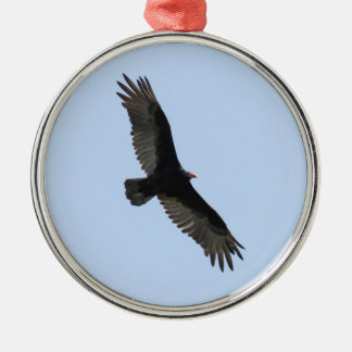 Turkey Vulture Silver-Colored Round Decoration