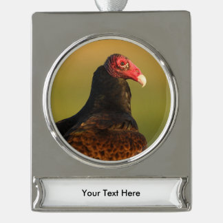 turkey vulture silver plated banner ornament
