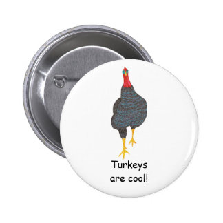Turkeys are cool pointillism pin on buttons