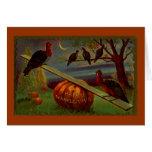 Turkeys Seesaw on Pumpkin Vintage Thanksgiving Greeting Card