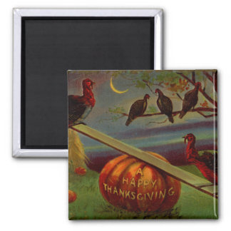 Turkeys Seesaw on Pumpkin Vintage Thanksgiving Magnet