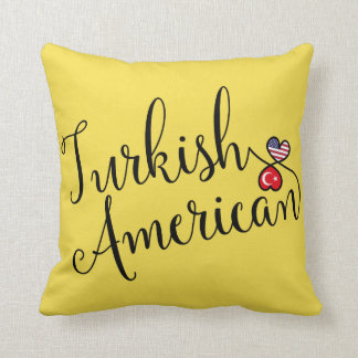 Turkish American Entwined Hearts Throw Cushion