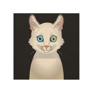 Turkish Angora Cat Cartoon Paws Wood Prints