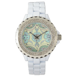 Turkish Aqua and Yellow Ottoman Iznik Tile Pattern Wristwatches