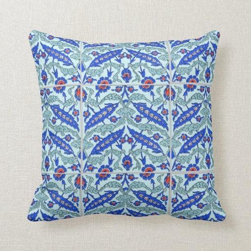 Turkish Border Turquoise Blue American MoJo Pillow