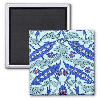 Turkish Border Turquoise Blue Tile Pattern Square Magnet