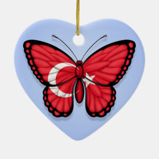 Turkish Butterfly Flag on Blue Christmas Ornament