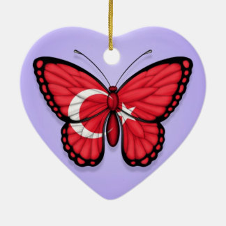 Turkish Butterfly Flag on Purple Christmas Ornament