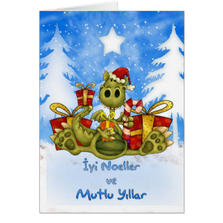 Turkish Christmas Card - Cute Dragon - İyi Noeller