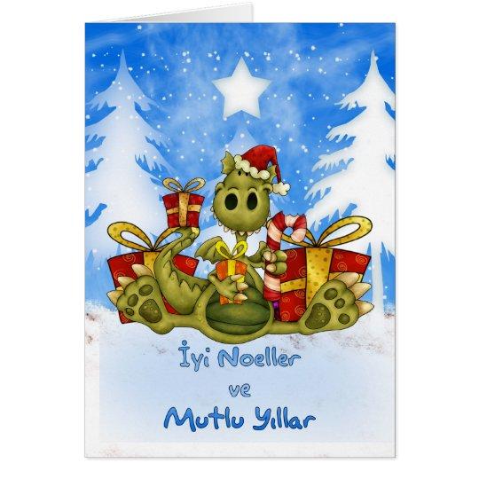 Turkish Christmas Card - Cute Dragon - İyi Noeller