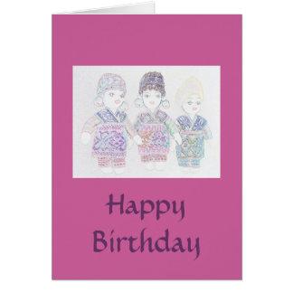 Turkish Dolls Happy Birthday Card