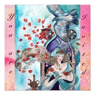 TURKISH FAIRY TALE ,bright  red blue pink sparkles 13 Cm X 13 Cm Square Invitation Card