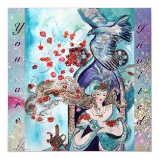TURKISH FAIRY TALE ,bright  red blue pink sparkles 13 Cm X 13 Cm Square Invitation Card