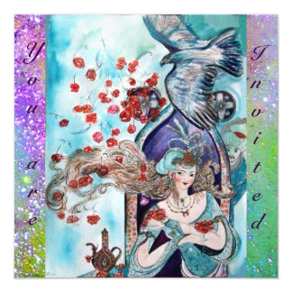 TURKISH FAIRY TALE ,bright red blue purple sparkle 13 Cm X 13 Cm Square Invitation Card