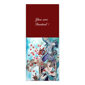 TURKISH FAIRY TALE ,bright red blue white 10 Cm X 24 Cm Invitation Card
