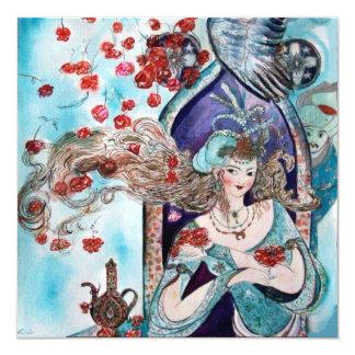 TURKISH FAIRY TALE ,bright red blue white black 13 Cm X 13 Cm Square Invitation Card