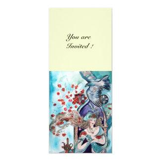 TURKISH FAIRY TALE ,bright red blue white cream 10 Cm X 24 Cm Invitation Card