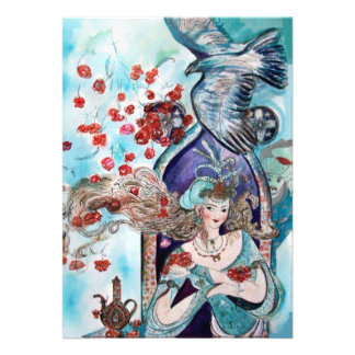TURKISH FAIRY TALE bright red blue white Custom Announcements