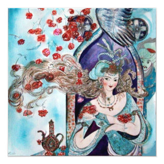 TURKISH FAIRY TALE ,bright red blue white pink 13 Cm X 13 Cm Square Invitation Card