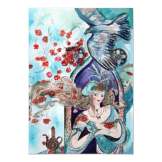 TURKISH FAIRY TALE ,bright red blue white sparkle 13 Cm X 18 Cm Invitation Card