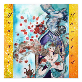 TURKISH FAIRY TALE ,bright red blue yellow sparkle 13 Cm X 13 Cm Square Invitation Card