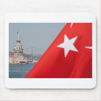 Turkish flag and Maiden tower in Istanbul Mouse Pad