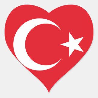 Turkish Flag Heart Sticker